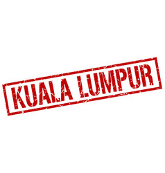 Kuala lumpur red square stamp vector