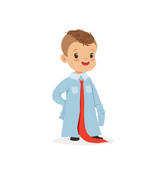 lovely boy wearing dult oversized shirt and tie vector image vector image