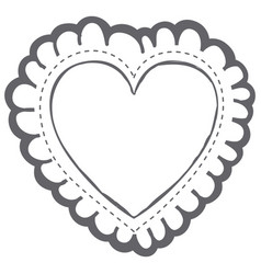 monochrome silhouette decorative frame in heart vector image vector image