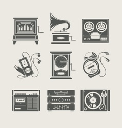 Musical device set of icon vector