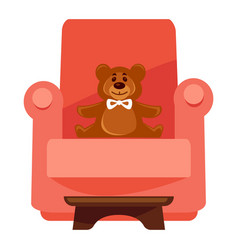 Plush bear on red armchair vector