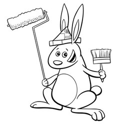 Rabbit painter coloring book vector