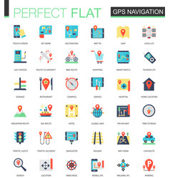 Set of flat location map and gps vector