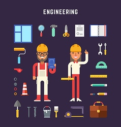 Set of icons and in flat design style engineering vector