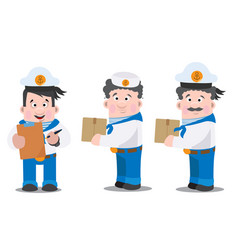 three sailors with boxes cartoon funny characters vector image