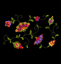 Tribal flower embroidery crewel patch bright red vector