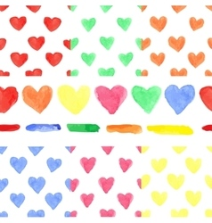 Watercolor colored heart seamless patternbaby vector