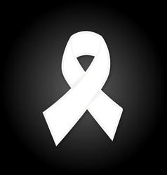 White ribbon on black background vector image