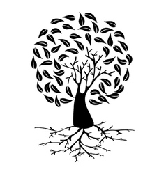 Young tree with roots silhouette vector