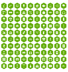 100 electrical engineering icons hexagon green vector