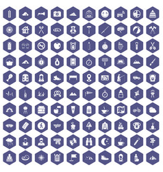 100 family camping icons hexagon purple vector