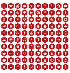 100 food icons hexagon red vector image vector image