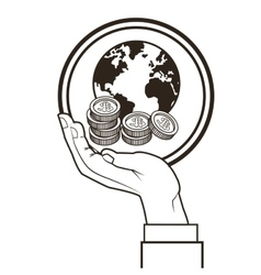 Hand planet coins money sketch design vector