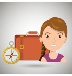 Woman bag compass travel vector