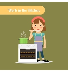 Woman cooking food in the kitchen vector image