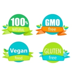 Gmo free 100 natutal vegan food and gluten free vector