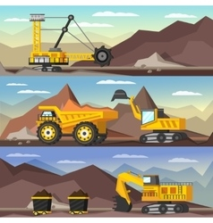 Mining industry orthogonal banners set vector