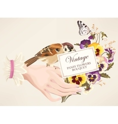 hand with pansies vector image