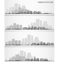 Cityscape set with small town and downtown vector