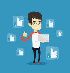man with like social network buttons vector image