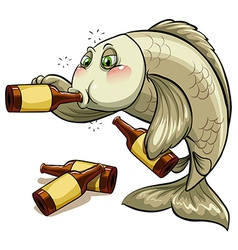 A drunk fish vector