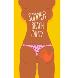 Bikini sexy girl tatoo summer beach party poster vector
