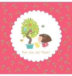 Cute girl watering tree vector image