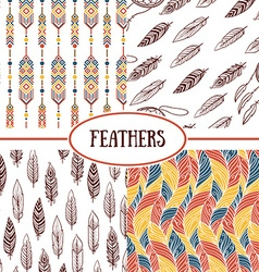 Ethnic seamless patterns with feathers vector
