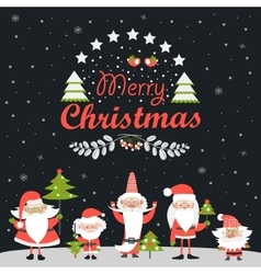 Funny santa clauses with christmas tree vector