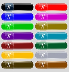 Tennis icon sign set from fourteen multi-colored vector