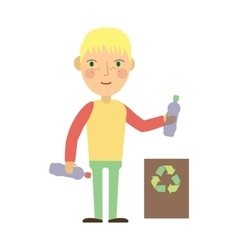 Kid throwing plastic bottles into a recycling bin vector