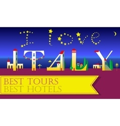 I love italy inscription holiday houses font vector