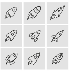 Line rocket icon set vector
