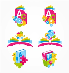 Logos of learn and play merge vector