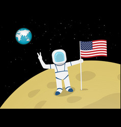 Astronaut on moon surface with us flag vector