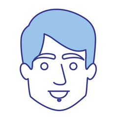 Blue silhouette of young face with short hair vector