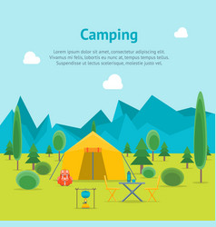 cartoon camping day view card poster vector image