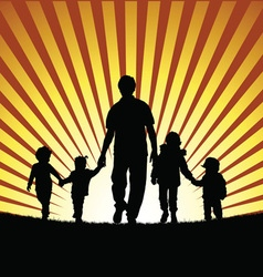children with grandfather silhouette in nature vector image vector image