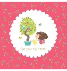 Cute girl watering tree vector image