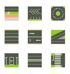 Different road way icons set cartoon style vector