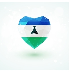Flag of lesotho in shape diamond glass heart vector