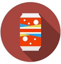 Flat design modern of soda can icon with long vector