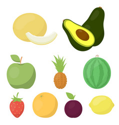 fruits set icons in cartoon style big collection vector image
