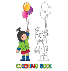 Funny little girl with balloons coloring book vector