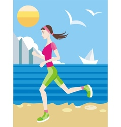 Girl in a sports uniform jogging on beach vector image