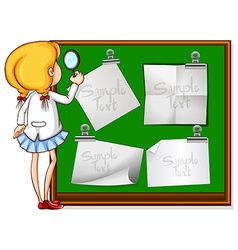 Girl looking at notes on board vector image vector image