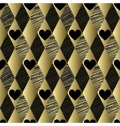 Gold pattern with rhombs and hearts vector image vector image