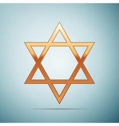 Gold star of david icon on blue background vector