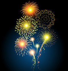 Golden firework for christmas and happy new year vector