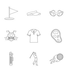 Golf market icons set outline style vector
